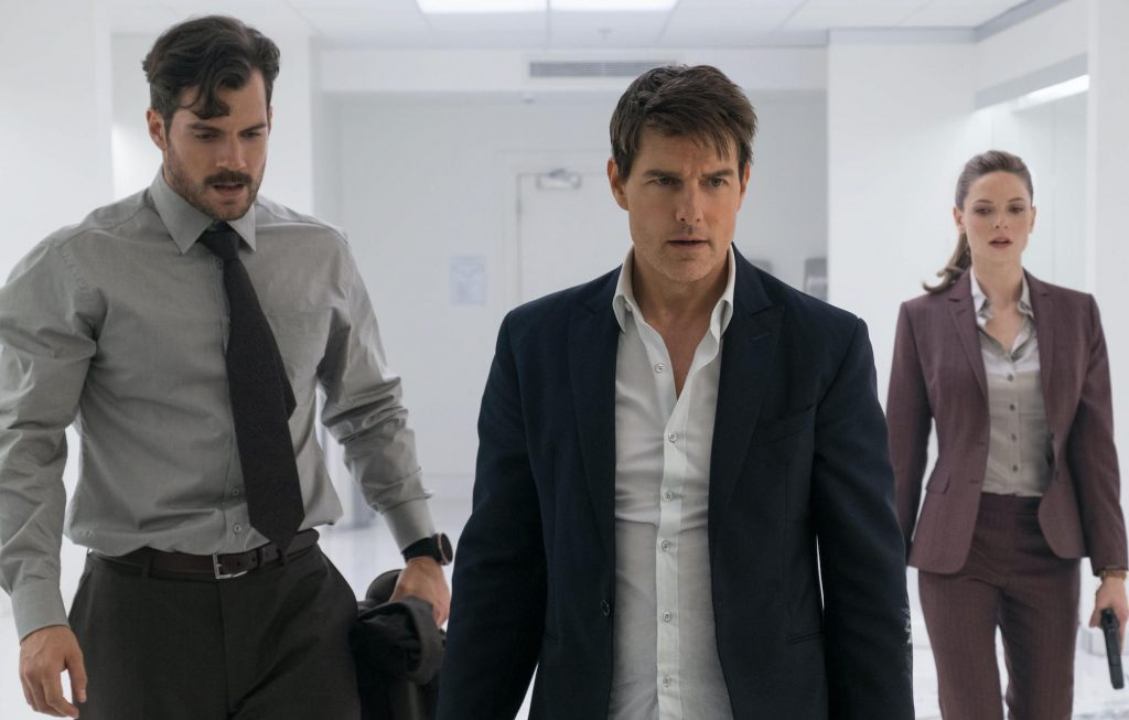 Henry Cavill como August Walker, Tom Cruise é Ethan Hunt e Rebecca Ferguson é Ilsa Faust em MISSION: IMPOSSIBLE - FALLOUT 2018